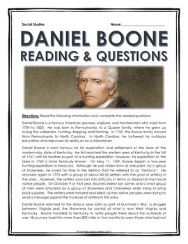 Daniel Boone - Reading and Questions with Key (Westward Ex