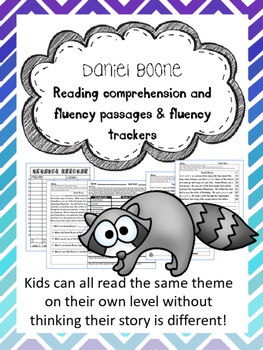 Daniel Boone fluency and comprehension leveled passage