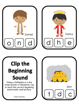 Daniel and the Lions Den Beginning Sounds Clip It Printabl