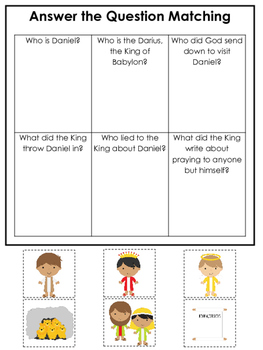 Daniel and the Lions Den printable Answer the Question gam