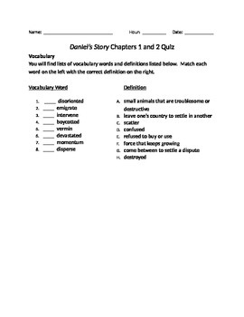 Daniel's Story Chapter 1 and 2 Quiz