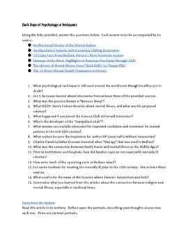 Dark Days of Psychology WebQuest
