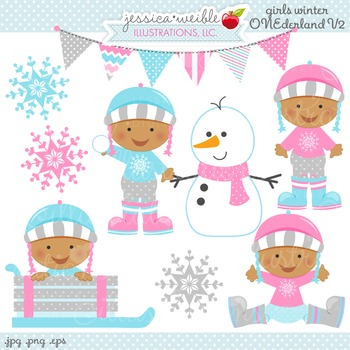 Dark Girls Winter ONE-derland Cute Digital Clipart, Baby G
