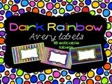 Dark Rainbow Theme Editable Classroom Labels 2x4 { Avery L