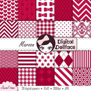 Dark Red Backgrounds / Maroon Digital Papers