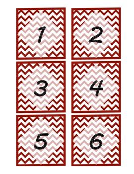 Dark Red Chevron Pattern Mailbox Labels/Number Labels