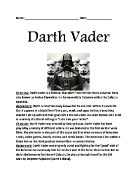 Darth Vader - Star Wars informational article lesson facts