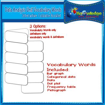 Data Analysis Unit Vocabulary Words Interactive Foldable f