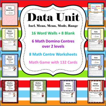 Data Unit - 6 Math Center/Literacy/ 8 Worksheets, Game & Wordwall