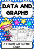 Data and Graphs Printable Worksheet Pack - First Grade
