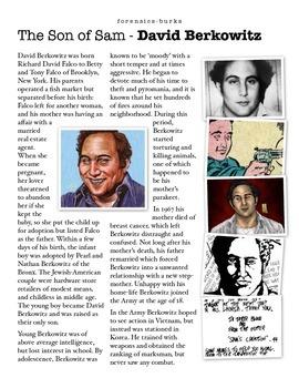 Forensics - David Berkowitz - The Son of Sam w/key