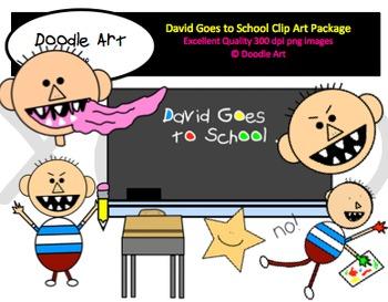 David at School Clipart Pack