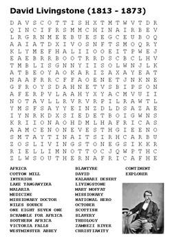David Livingstone Word Search