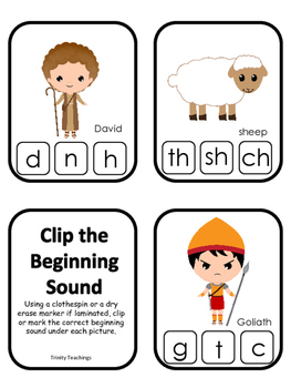 David and Goliath Beginning Sounds Clip It preschool Bible