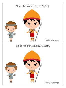 David and Goliath Positional Cards preschool Christian cur