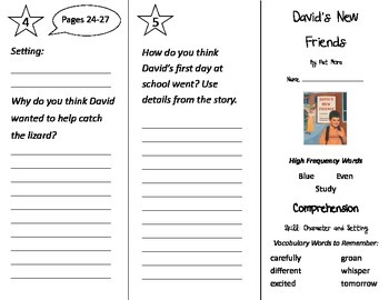 David's New Friends Trifold - Treasures 2nd Grade Unit 1 W