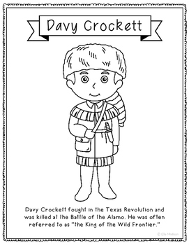 Davy Crockett Coloring Page Activity or Poster with Mini B