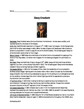 Davy Crockett - Life History Review Article Questions Voca