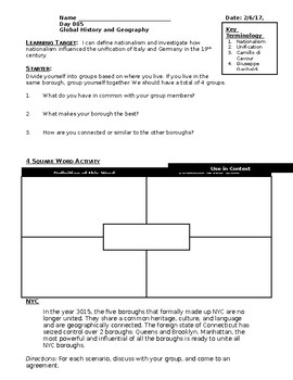 Nationalism - Italian and German Unification - Lesson Handout