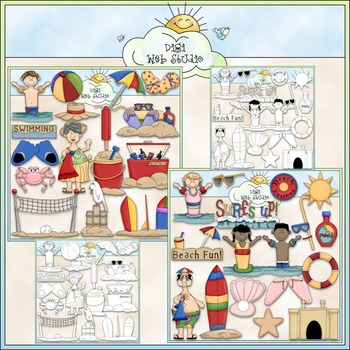 Day At The Beach Clip Art Bundle - Summer / Swimming - 2 C