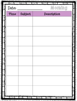 Day Plan Template *Editable* 8 Rows
