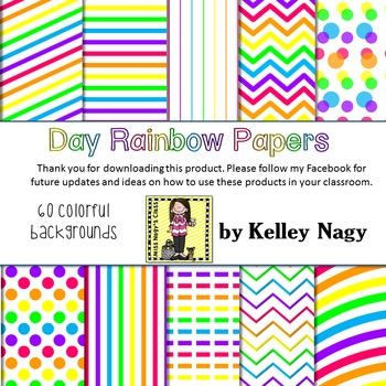 Day Rainbow Digital Papers
