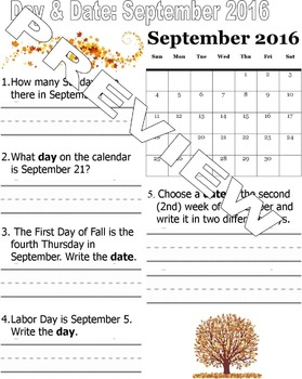 Day and Date September 2016 Calendar
