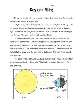 Day and Night Reading Comprehension