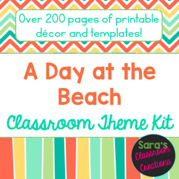 Beach Colors (Coral, Teal, Green, & Yellow) Classroom Them