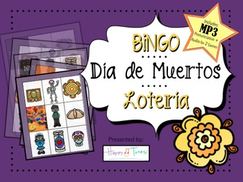 Day of Dead BINGO MP3 Vocabulary Pronnciation Spanish + 2-