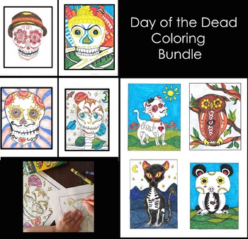 Day of the Dead Coloring Sheets Bundle