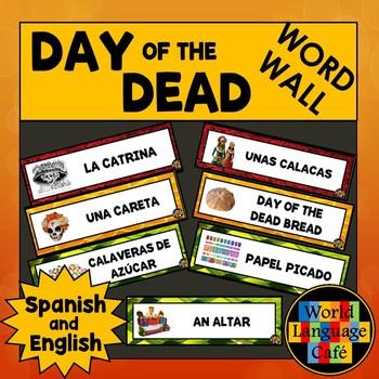 English Spanish Day of the Dead, Día de los Muertos Word W