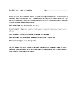 Day of the Dead Writing Assignment