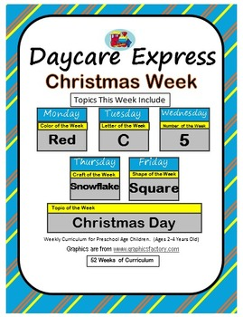 Daycare Curriculum (Christmas) Letter C, Shape Square, Col