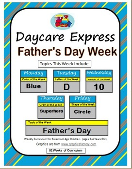 Daycare Curriculum (Father's Day) Letter D, Shape Circle,
