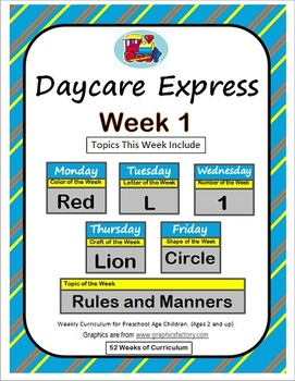 Daycare Curriculum (Week 1)  Letter L, Shape Circle, Color