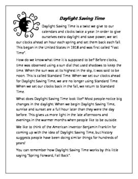 Daylight Saving Time Close Read