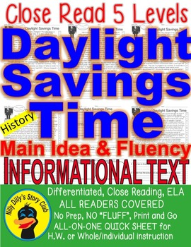 Daylight Savings Time FACTS Close Read 5 Level Passages PR