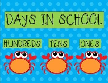 Days In School Chart- Ocean Theme