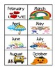 Days, Months, Common Word Flash Cards