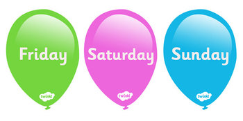 Days of The Week on Balloons