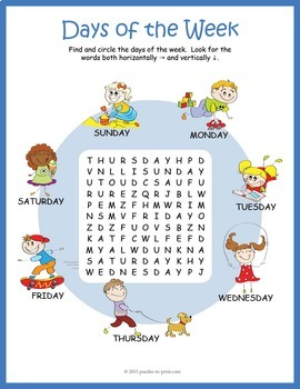 Days of the Week Word Search Puzzle