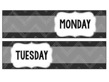 Days of the Week Bin Labels (Chalkboard)