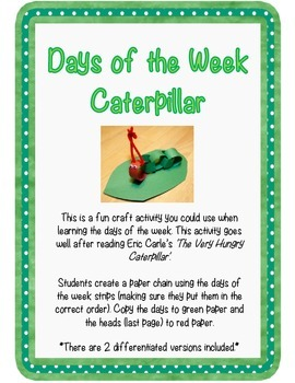 Days of the Week Caterpillar