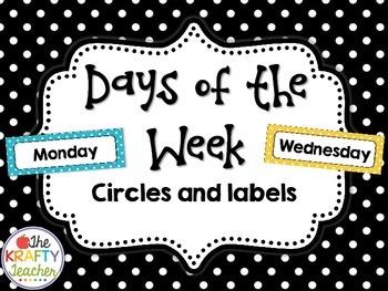 Days of the Week Circles and Labels Polka-dot, Rainbow Dots