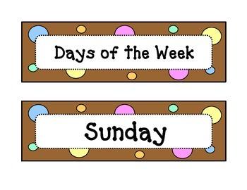 Calendar - Days of the Week - Dots & Pastel, Chocolate Bro
