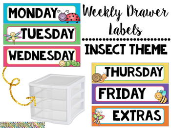 Days of the Week Drawer Labels- Insect Theme
