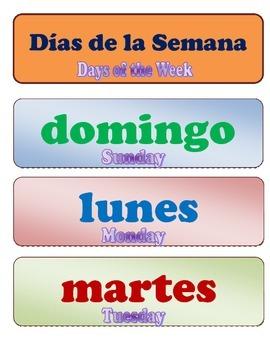 Days of the Week English/Spanish
