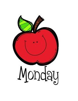 Days of the Week File Folder Labels Smiley Apples