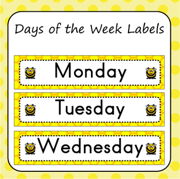 Days of the Week Labels - Bee Theme